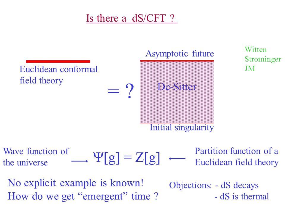 = Ψ[g] = Z[g] Is there a dS/CFT De-Sitter